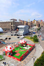 Kyiv, Ukraine, is preparing fan zone for EURO 2012 Royalty Free Stock Photo