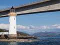 Kyleakin lighthouse skye bridge scotland the underneath the isle of on the island of eilean ban lochalsh view of the isle of and Royalty Free Stock Photo