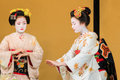 Kyomai dance performed by maiko in kyoto unidentified apprentice geisha performs which adopted the elegance and of the imperial Royalty Free Stock Images
