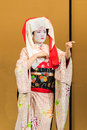 Kyomai dance performed by maiko in kyoto unidentified geisha performs which adopted the elegance and of the imperial court manner Royalty Free Stock Photography