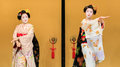 Kyomai dance performed by maiko in kyoto unidentified geisha performs which adopted the elegance and of the imperial court manner Royalty Free Stock Photos