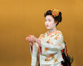 Kyomai dance performed by maiko in kyoto unidentified geisha performs which adopted the elegance and of the imperial court manner Royalty Free Stock Images