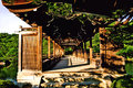 Kyoto heian palace amazing old style wood bridge in a wonderful traditional garden Royalty Free Stock Photos