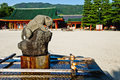 Kyoto heian shrine location by a sunny day around a refreshing zen powerful tiger fountain Stock Image