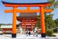 Kyoto japan march giant torii gate front romon gate fushimi inari shrine s entrance fushimi inari shrine head shrine inari located Royalty Free Stock Photography