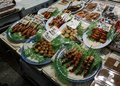 Japanese street food in a Kyoto market Royalty Free Stock Photo