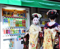 KYOTO, JAPAN - OCT 21 2012: Japanese ladies in traditional dress Stock Images
