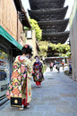 KYOTO, JAPAN - OCT 21 2012: Japanese ladies in traditional dress Stock Image