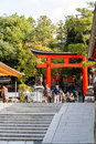Kyoto japan oct tourists at fushimi inari shrine on octo october the is famous for its torii gates walkway that lead to the top Stock Image