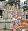 stock image of  Sake barrels at a Sake festival