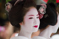 KYOTO - JULY 24: Unidentified Maiko girl (or Geiko lady) on parade of hanagasa in Gion Matsuri (Festival) held on July 24 2014 in Royalty Free Stock Photo