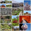 Kyoto photos photo collage from collage includes best views like fushimi inari buddhist temples cherry blossom and zen gardens Stock Image