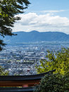 Kyoto seen from fushimi inari shrine skyline view of japan Royalty Free Stock Photo