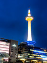 Kyoto tower with dusk sky kyoto japan april on april in is the capital city of prefecture located in the kansai Royalty Free Stock Images