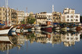 Kyrenia harbor turkish republic of northern cyprus in the early morning the Stock Photos