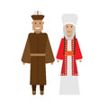 Kyrgyz national dress illustration of costume on white background Royalty Free Stock Image