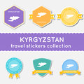Kyrgyzstan travel stickers collection. Royalty Free Stock Photo