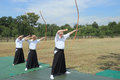 Kyudo archery pombia italy june apprentices of the ancient japanese martial art at the gli archi di arduino event on june in Royalty Free Stock Image