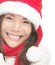 Lächelnde Portraitnahaufnahme der Weihnachtsfrau Stockfotos