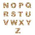 L'alphabet floral [N - Z] a placé Photo libre de droits