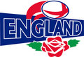 L'anglais de rose de l'Angleterre de bille de rugby Photo stock