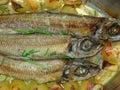 L'arrosto pesca il particolare Fotografia Stock