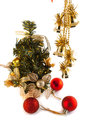 L fir tree and new year s toys artificial on a white background Stock Images
