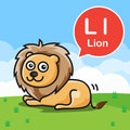 L Lion color cartoon and alphabet for children to learning vect