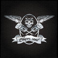 L silver crest with skull,wings and pistons Royalty Free Stock Photo