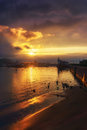 La Bola Beach In Getxo At Sunset