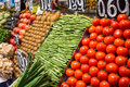 La boqueria fruits and vegetables stall in the most famous market in barcelona Stock Photo
