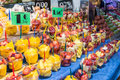 La boqueria fruits and vegetables stall in the most famous market in barcelona Royalty Free Stock Images