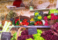 La boqueria market with vegetables and fruits in barcelona spain Royalty Free Stock Image