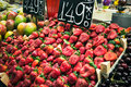 La boqueria strawberry stall in the most famous market in barcelona Royalty Free Stock Photo