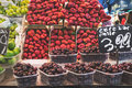 La boqueria strawberry stall in the most famous market in barcelona Royalty Free Stock Photography