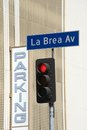La brea av street sign in hollywood next to a parking Stock Image