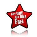La compra una consigue una bandera roja libre de la estrella Imagen de archivo libre de regalías