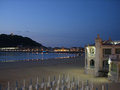 La concha beach san sebastian at night Stock Photography