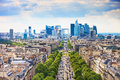La defense business area grande armee avenue paris france view from arc de triomphe europe Royalty Free Stock Photo
