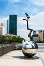 La defense district sculpture on the street in a major business near paris france Stock Photos