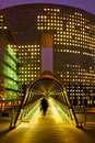 La Defense in Paris at night Royalty Free Stock Images