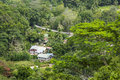 La digue farms seychelles view from the highest point of nid d aigle down to some typical in the hills Royalty Free Stock Photography