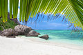 La digue seychelles beach source d argent at nature background Stock Images