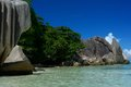 La digue seychelles the most photographed beach of island in the north of mahe in the archipelago Royalty Free Stock Images