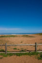 La griega beach with fence in the forefront pic colunga small town of province of asturias spain Stock Images