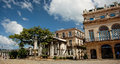 La habana cuba beautiful square with trees and old houses in capitol of Stock Image