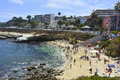 La jolla ca august beachgoers enjoying a beautiful sunny afternoon at la jolla cove in san diego ca on august seal beach Royalty Free Stock Image