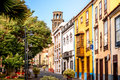 La laguna street view city with church tower in town on tenerife island Royalty Free Stock Photo