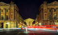 La madeleine paris france at night blur of lights from traffic from the place do concorde Royalty Free Stock Photo