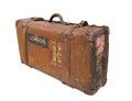La maleta de cuero de la vendimia con las correas aisló. Foto de archivo libre de regalías
